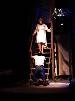 On-stage, Stella Kowalski in A Streetcar Named Desire with Theatre Northwest Group.